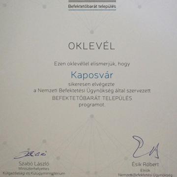 Befektetőbarát Település lett Kaposvár
