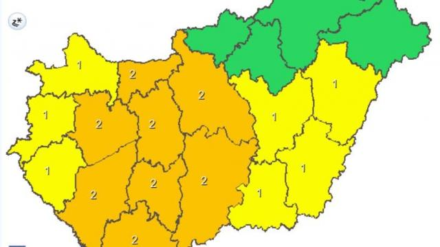 Országszerte első-és másodfokú figyelmeztetést adtak ki ónos eső miatt