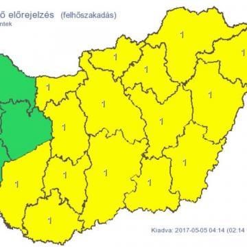 Az ország nagy részén felhőszakadásra figyelmeztetnek
