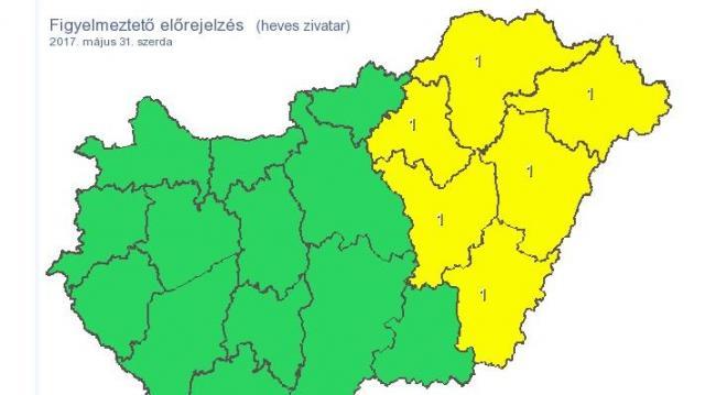 Az ország nagy részén heves esőzésekre figyelmeztetnek