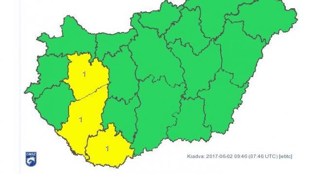 Citromsárga figyelmeztetés - Felhőszakadás várható ma délután Somogy megyében