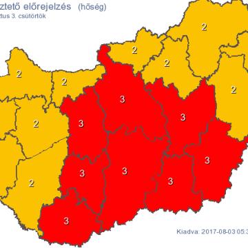 Már nyolc megyében és a fővárosban harmadfokú figyelmeztetés