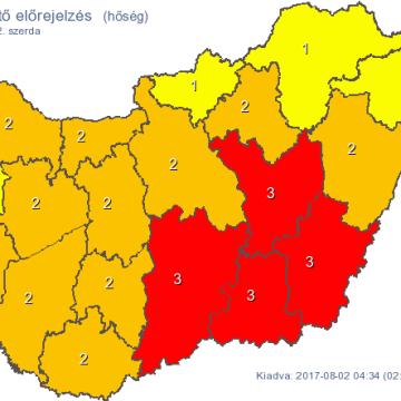 Már többfelé harmadfokú a figyelmeztetés a hőség miatt