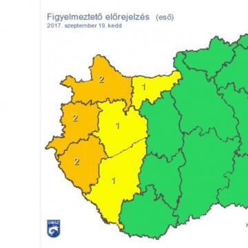 Citromsárga figyelmeztetés: Nagy eső jön Somogy megyére