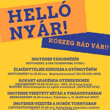 Ingyenes programokkal és zenés estékkel várják a látogatókat Kőszegen
