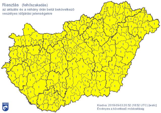 További jelentős esőzésekre figyelmeztet a meteorológiai szolgálat