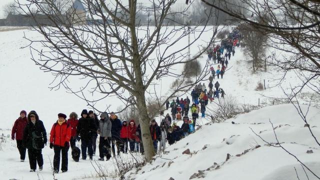 A hóesés sem riasztotta el a túrázókat