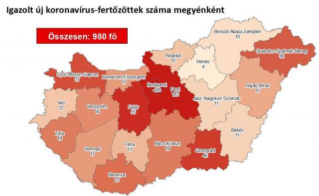 Így változott a fertőzöttek száma Borsod-Abaúj-Zemplén megyében csütörtökre
