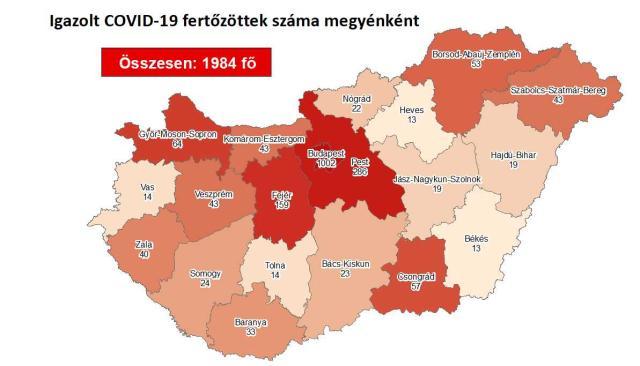 Így változott a fertőzöttek száma Pest megyében hétfőre