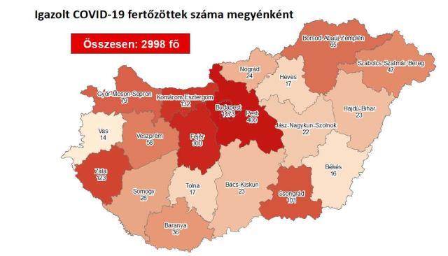 2998 főre nőtt a beazonosított fertőzöttek száma és elhunyt 5 idős krónikus beteg
