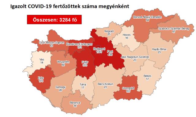 Így változott a fertőzöttek száma a megyében hétfőre
