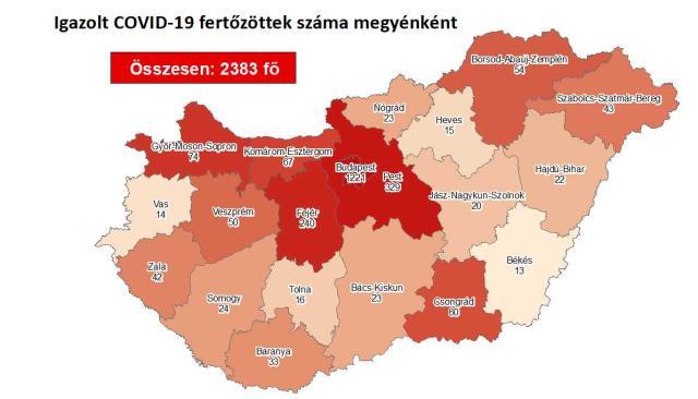 Így változott a fertőzöttek száma Borsod-Abaúj-Zemplén megyében péntekre