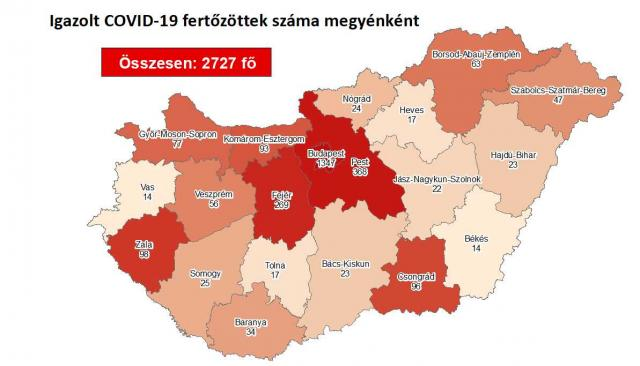 Így változott a fertőzöttek száma Borsod-Abaúj-Zemplén megyében szerdára
