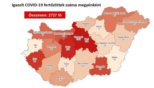 Így változott a fertőzöttek száma Pest megyében szerdára