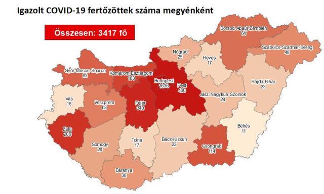Országszerte csökkent az aktív koronavírus-fertőzöttek száma