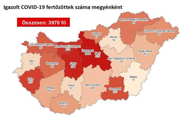 Négy megyében már nincs egyetlen aktív fertőzött sem