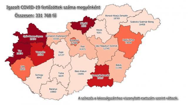 Pécs lakosságával egyenlő az aktív fertőzöttek száma hazánkban